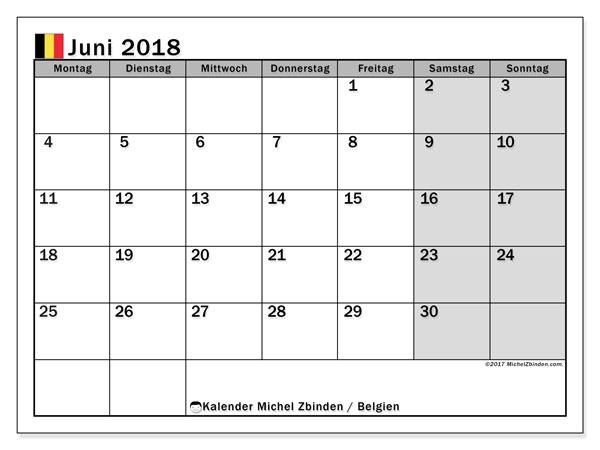 Kalender für Juni 2018, mit Feiertagen in Belgien. Kostenloser Zeitplan zum ausdrucken.