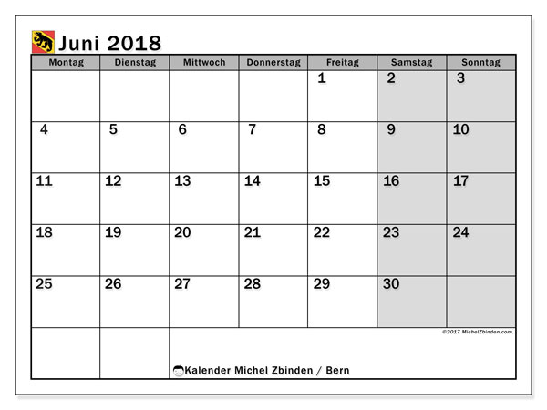 Kalender für Juni 2018, , mit Feiertagen des Kantons Bern. Monatlicher Zeitplan zum kostenlosen ausdrucken.