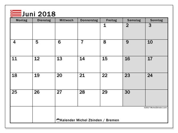 Kalender für Juni 2018, mit Feiertagen Bremen. Kostenloser Kalender zum ausdrucken.