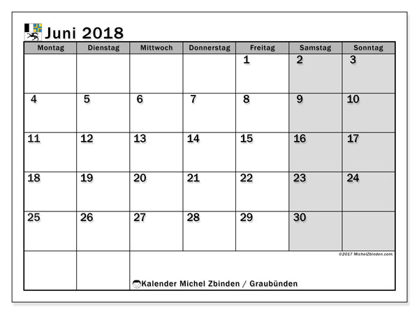Kalender für Juni 2018, , mit Feiertagen des Kantons Graubünden. Monatlicher Zeitplan zum kostenlosen ausdrucken.