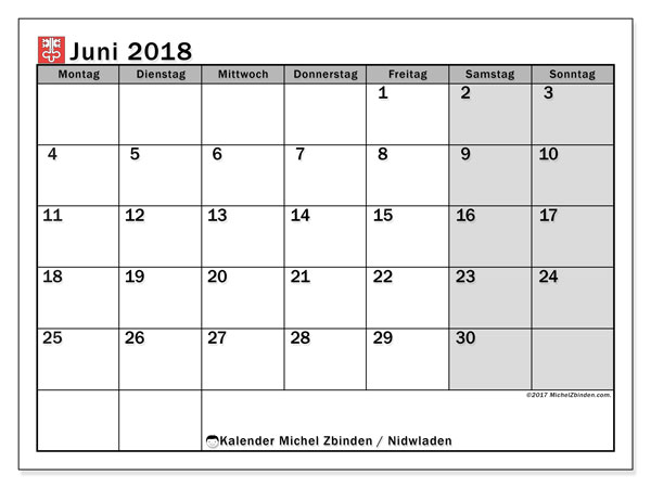 Kalender für Juni 2018, mit Feiertagen des Kantons Nidwalden. Kostenloser Kalender zum ausdrucken.
