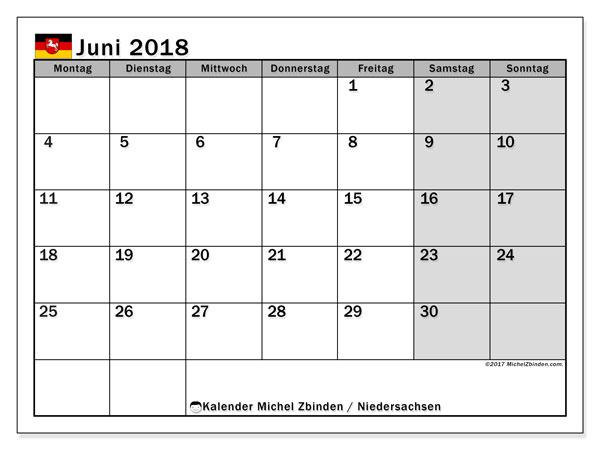 Kalender für Juni 2018, mit Feiertagen Niedersachsen. Monatskalender zum kostenlosen ausdrucken.