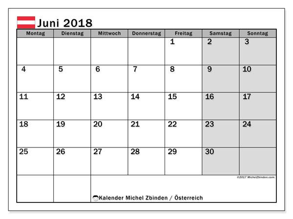 Kalender für Juni 2018, mit Feiertagen in Österreich. Monatlicher Zeitplan zum kostenlosen ausdrucken.
