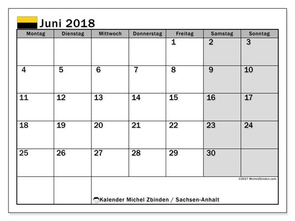 Kalender für Juni 2018, , mit Feiertagen Sachsen-Anhalt. Monatlicher Kalender zum kostenlosen ausdrucken.