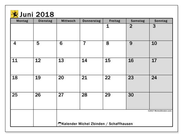 Kalender für Juni 2018, mit Feiertagen des Kantons Schaffhausen. Zeitplan zum kostenlosen ausdrucken.
