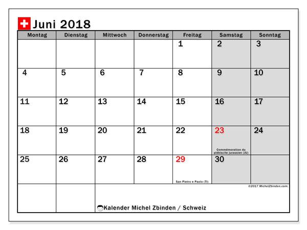 Kalender für Juni 2018, , mit Feiertagen in der Schweiz. Kostenlos ausdruckbare Kalender.