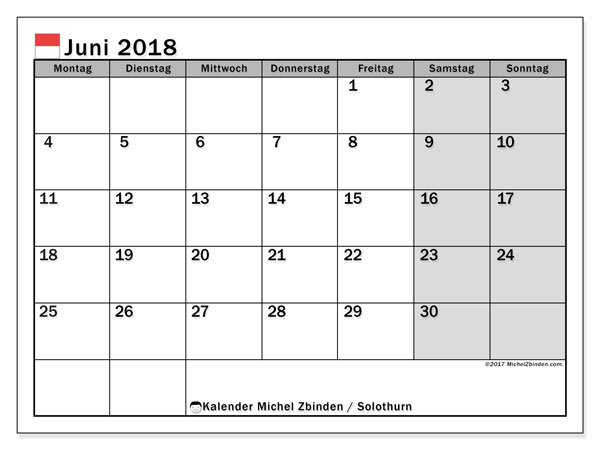 Kalender für Juni 2018, , mit Feiertagen des Kantons Solothurn. Zeitplan zum kostenlosen ausdrucken.