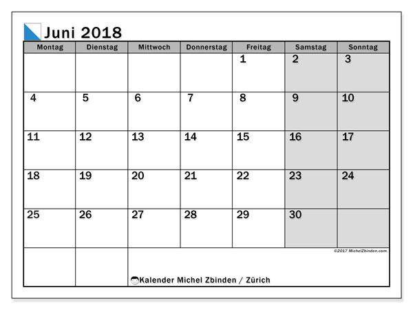 Kalender für Juni 2018, mit Feiertagen des Kantons Zürich. Kostenlos ausdruckbare Planer.
