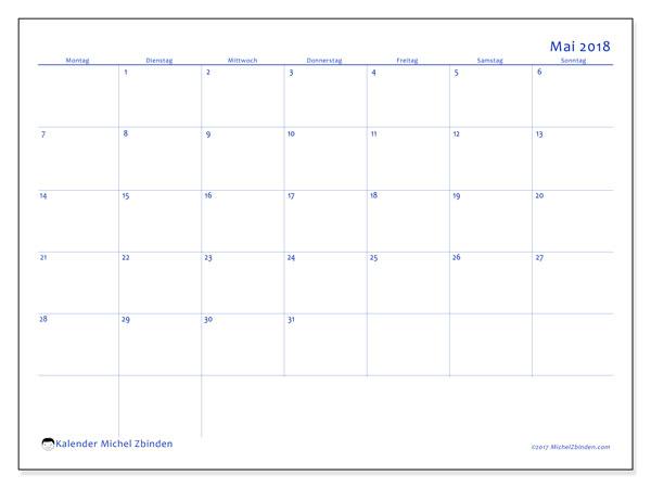 Kalender Mai 2018 (55MS). Kostenloser Planer zum ausdrucken.