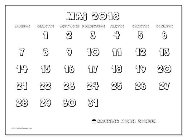Kalender Mai 2018 (56MS). Kostenloser Kalender zum ausdrucken.