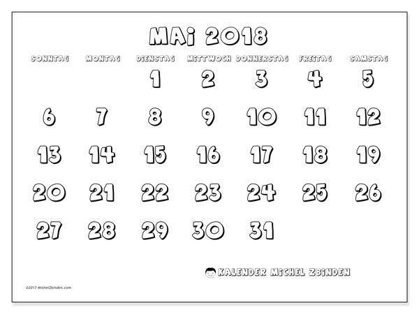 Kalender Mai 2018 (56SS). Monatlicher Kalender zum kostenlosen ausdrucken.