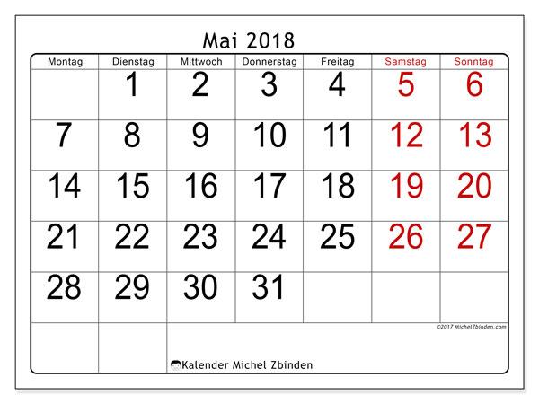 Kalender Mai 2018 (62MS). Kalender zum kostenlosen ausdrucken.