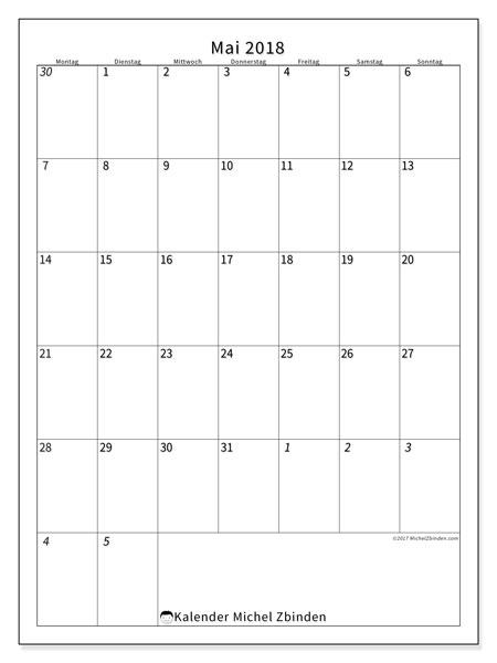 Kalender Mai 2018 (68MS). Monatlicher Zeitplan zum kostenlosen ausdrucken.