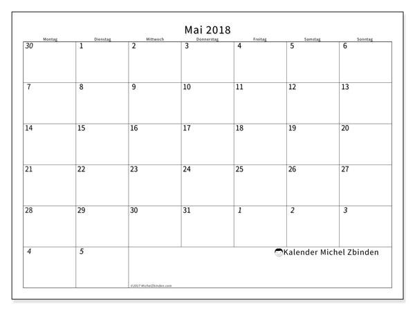Kalender Mai 2018 (70MS). Kostenloser Kalender zum ausdrucken.