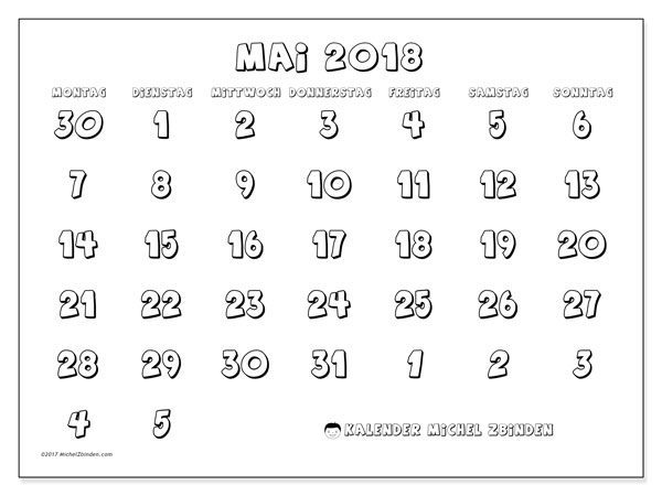 Kalender Mai 2018 (71MS). Kostenlos ausdruckbare Planer.