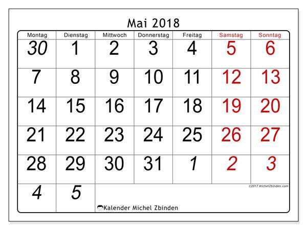 Kalender Mai 2018 (72MS). Zeitplan zum kostenlosen ausdrucken.