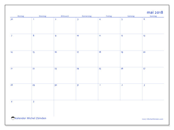 Kalender Mai 2018 (73MS). Kostenlos ausdruckbare Planer.