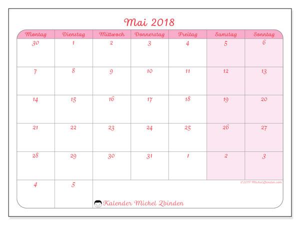 Kalender Mai 2018 (76MS). Kostenloser Kalender zum ausdrucken.