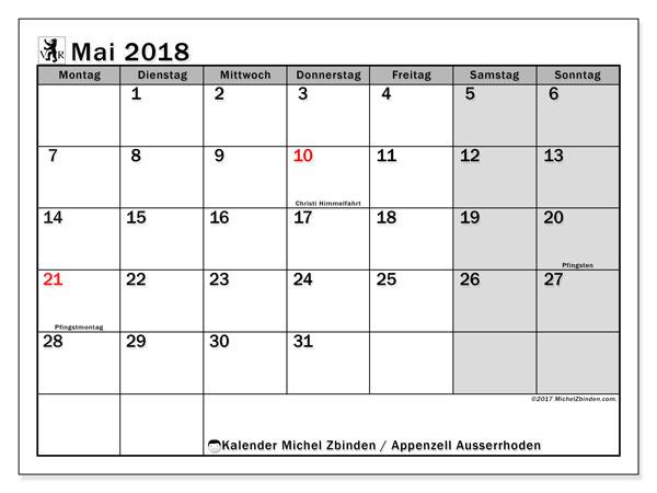 Kalender für Mai 2018, mit Feiertagen des Kantons Apenzell Ausserrhoden. Kostenloser Zeitplan zum ausdrucken.