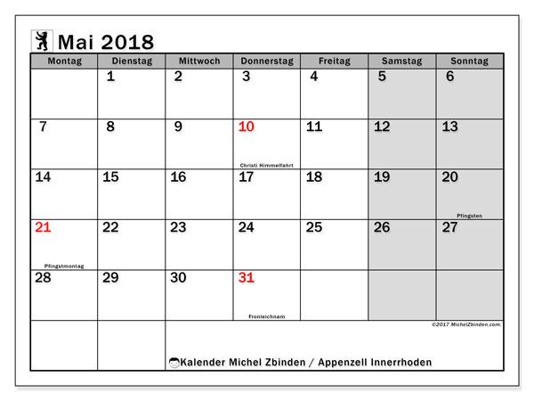 Kalender für Mai 2018, , mit Feiertagen des Kantons Apenzell Innerrhoden. Kostenloser Kalender zum ausdrucken.