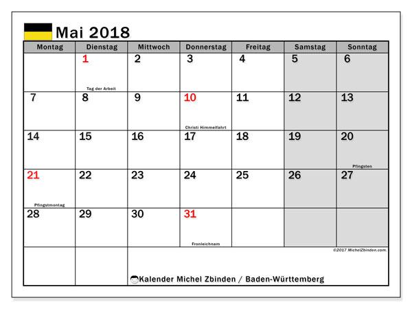 Kalender für Mai 2018, mit Feiertagen Baden-Württemberg. Monatlicher Kalender zum kostenlosen ausdrucken.