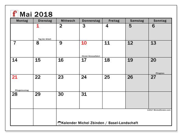 Kalender für Mai 2018, , mit Feiertagen des Kantons Basel Landschaft. Kalender für den Monat zum kostenlosen Ausdrucken.