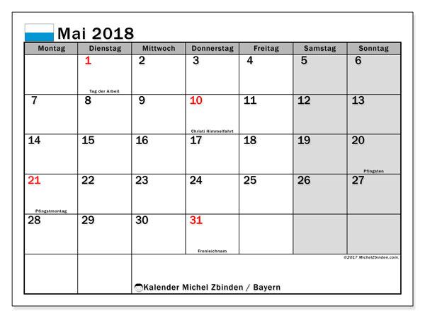 Kalender für Mai 2018, mit Feiertagen Bayern. Kostenlos ausdruckbare Zeitplan.