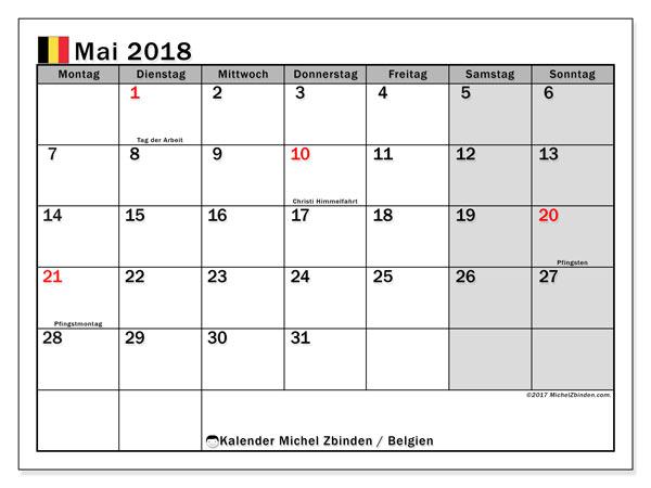 Kalender für Mai 2018, mit Feiertagen in Belgien. Kalender für den Monat zum kostenlosen Ausdrucken.