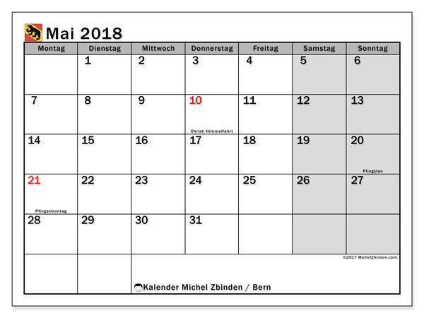 Kalender für Mai 2018, , mit Feiertagen des Kantons Bern. Kalender für den Monat zum kostenlosen Ausdrucken.