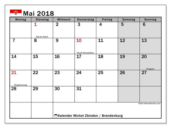 Kalender für Mai 2018, , mit Feiertagen Brandenburg. Monatlicher Zeitplan zum kostenlosen ausdrucken.