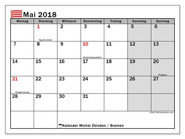 Kalender für Mai 2018, mit Feiertagen Bremen. Kostenlos ausdruckbare Planer.