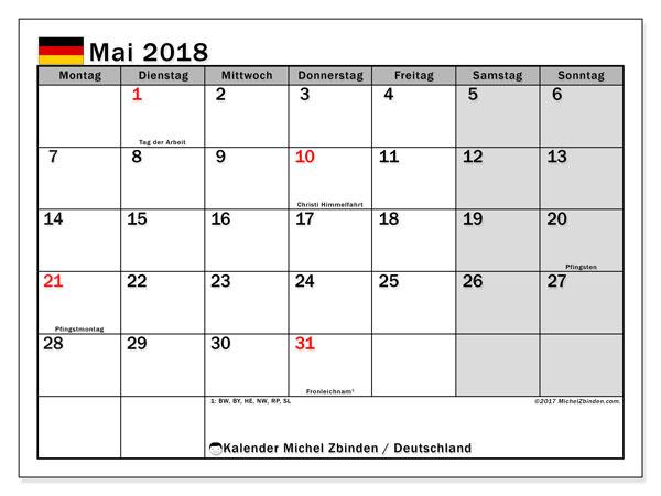 Kalender für Mai 2018, , mit Feiertagen Deutschland. Kalender für den Monat zum kostenlosen Ausdrucken.
