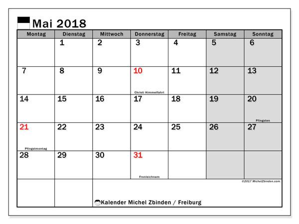Kalender für Mai 2018, , mit Feiertagen des Kantons Freiburg. Monatlicher Zeitplan zum kostenlosen ausdrucken.