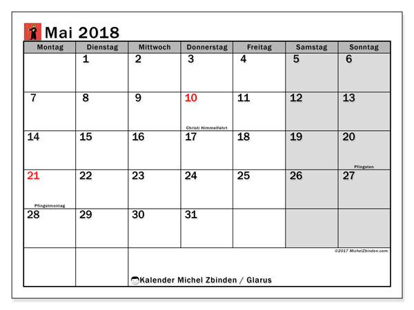 Kalender für Mai 2018, , mit Feiertagen des Kantons Glarus. Kostenlos ausdruckbare Planer.