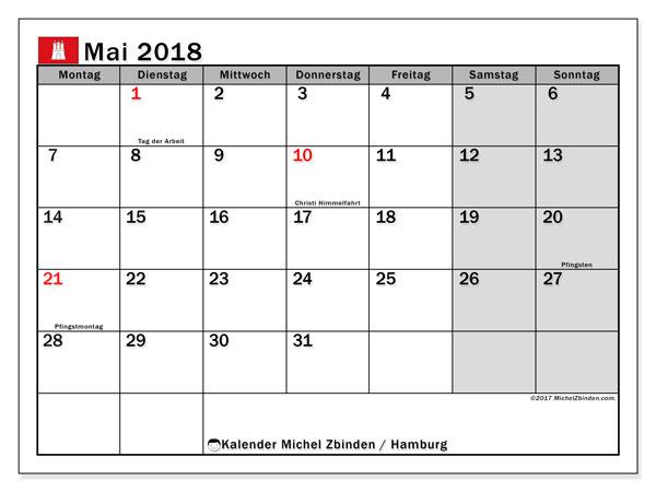 Kalender für Mai 2018, , mit Feiertagen Hamburg. Kostenlos ausdruckbare Planer.