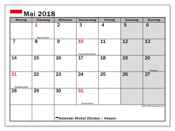 Kalender für Mai 2018, , mit Feiertagen Hessen. Planer zum kostenlosen ausdrucken.