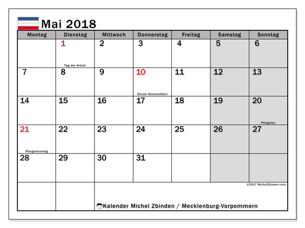 Kalender für Mai 2018, , mit Feiertagen Mecklenburg-Vorpommern. Kostenloser Kalender zum ausdrucken.