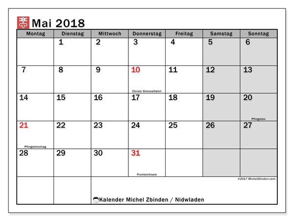 Kalender für Mai 2018, mit Feiertagen des Kantons Nidwalden. Monatskalender zum kostenlosen ausdrucken.