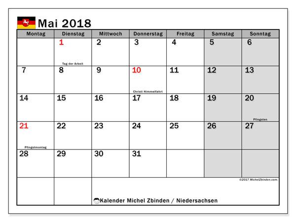 Kalender für Mai 2018, , mit Feiertagen Niedersachsen. Kalender für den Monat zum kostenlosen Ausdrucken.