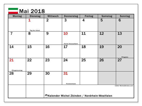 Kalender für Mai 2018, , mit Feiertagen Nordrhein-Westfalen. Kostenloser Planer zum ausdrucken.