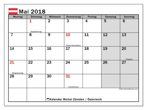 Kalender für Mai 2018, mit Feiertagen in Österreich. Monatlicher Zeitplan zum kostenlosen ausdrucken.