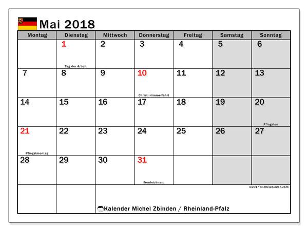 Kalender für Mai 2018, mit Feiertagen Rheinland-Pfalz. Monatlicher Zeitplan zum kostenlosen ausdrucken.