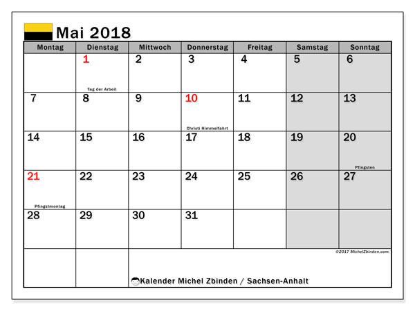 Kalender für Mai 2018, mit Feiertagen Sachsen-Anhalt. Monatlicher Kalender zum kostenlosen ausdrucken.