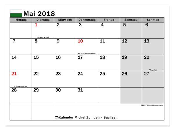 Kalender für Mai 2018, mit Feiertagen Sachsen. Kalender zum kostenlosen ausdrucken.