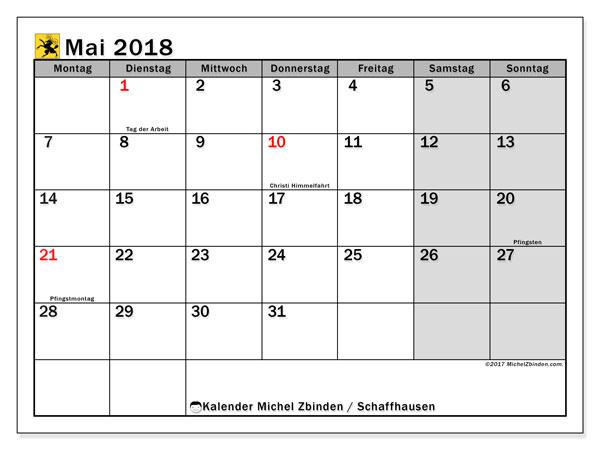 Kalender für Mai 2018, , mit Feiertagen des Kantons Schaffhausen. Kostenlos ausdruckbare Zeitplan.