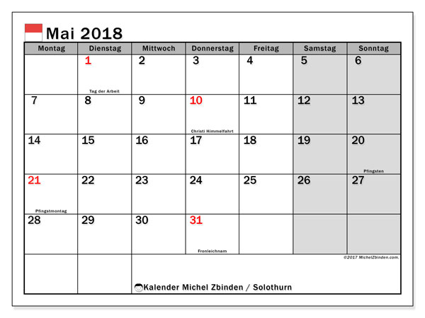 Kalender für Mai 2018, mit Feiertagen des Kantons Solothurn. Kostenloser Kalender zum ausdrucken.