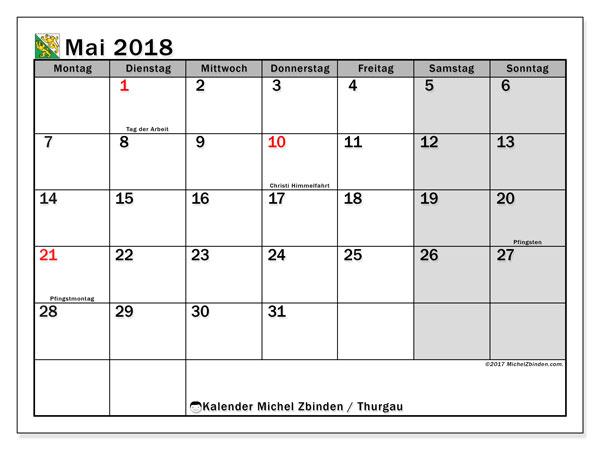 Kalender für Mai 2018, , mit Feiertagen des Kantons Thurgau. Kostenloser Planer zum ausdrucken.