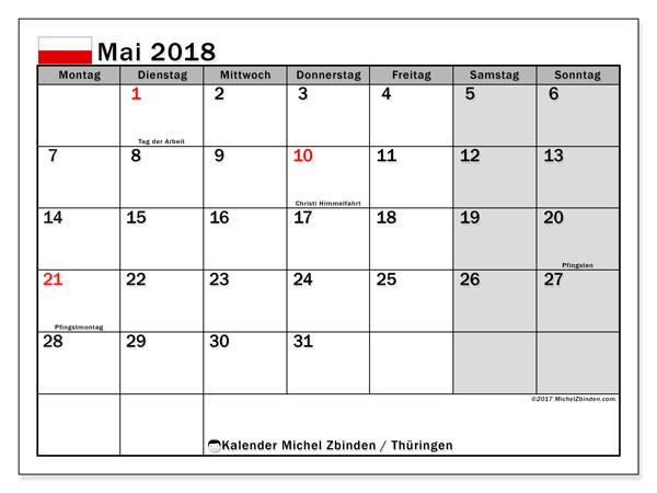 Kalender für Mai 2018, , mit Feiertagen Thüringen. Zeitplan zum kostenlosen ausdrucken.
