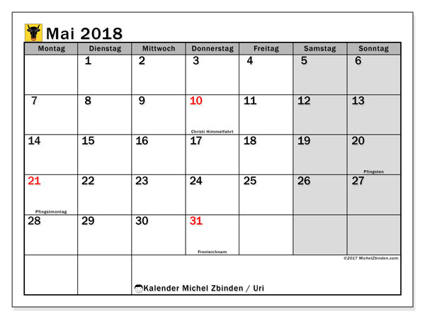 Kalender für Mai 2018, , mit Feiertagen des Kantons Uri. Zeitplan zum kostenlosen ausdrucken.