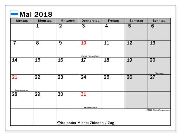 Kalender für Mai 2018, mit Feiertagen des Kantons Zug. Monatlicher Kalender zum kostenlosen ausdrucken.
